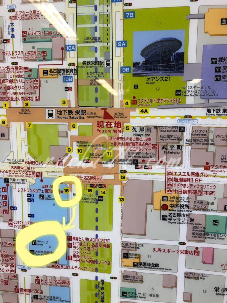 栄駅からラシックの位置