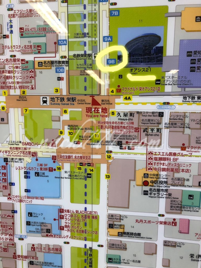 栄駅からオアシス21の位置