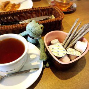 プティアミカフェ浜松の紅茶とブリトーカエルのぬいぐるみ